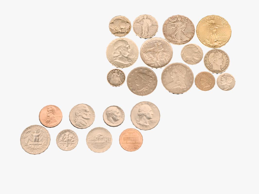 3d model coins s