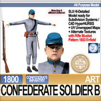 3d civil war confederate soldier