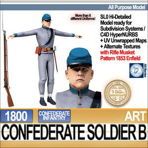 3d civil war confederate soldier