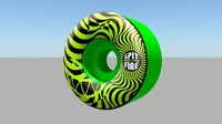 3d model of spitfire green wheels