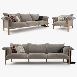 3ds max jardan wilfred sofa chair