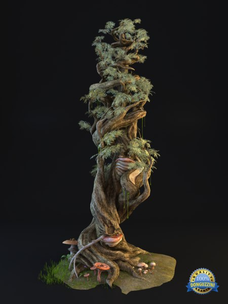 3d tree fairy tale model