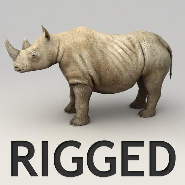 rigged rhino 3d obj