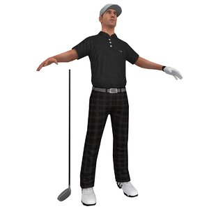golfer player hat 3d max