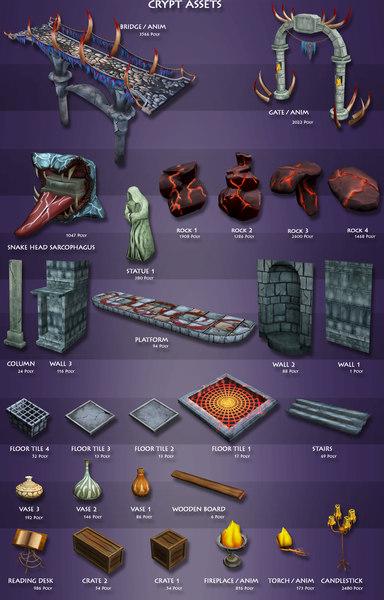 3d crypt assets model