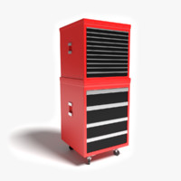 red tool chest 3d model