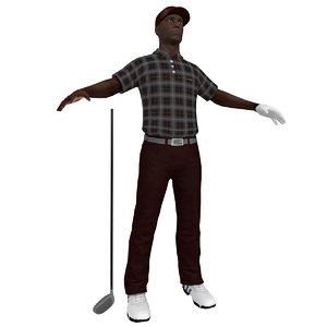 3d model golfer player hat
