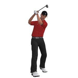 3d rigged golfer model