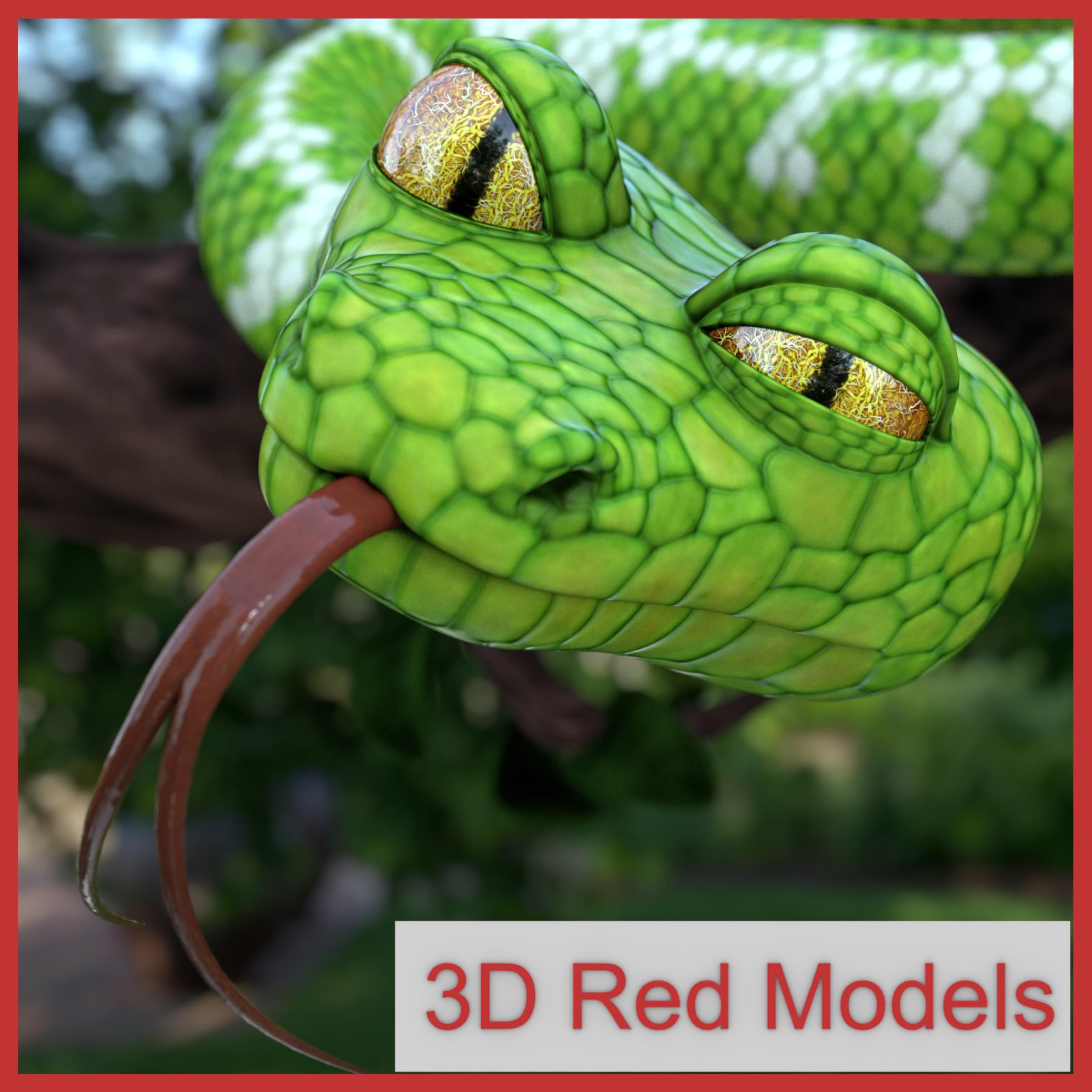 3d model cartoon emerald boa