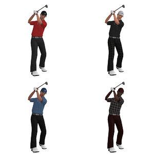 rigged golfer 3d model