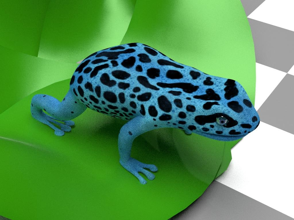 3d blue frog