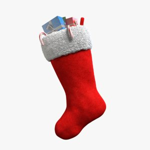 3d christmas stocking gifts model