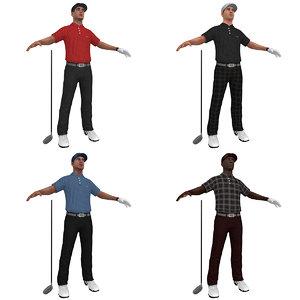 3d golfer player hat model