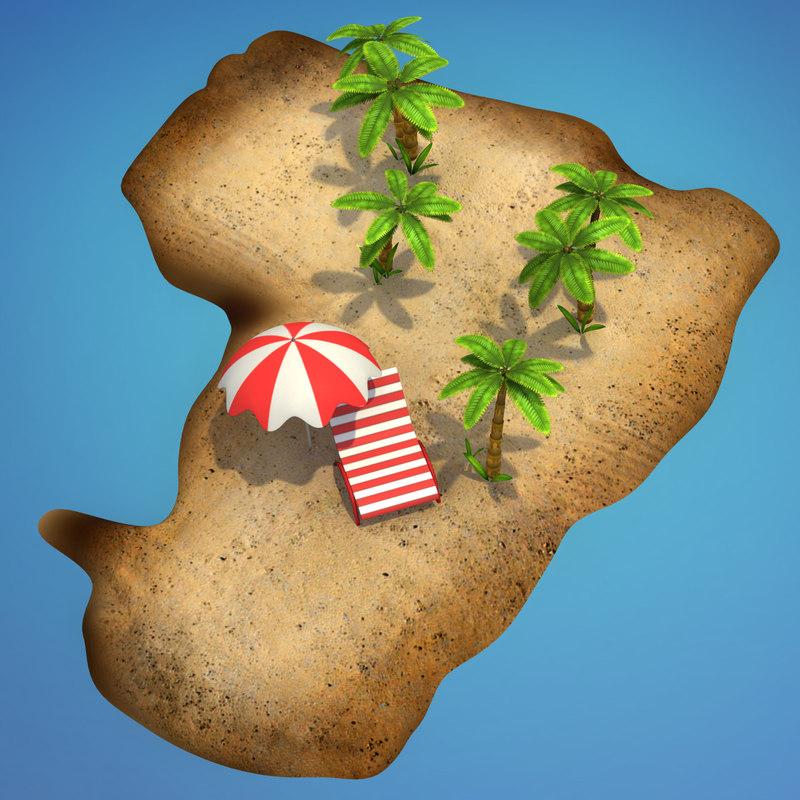 cartoon island palm trees 3d obj