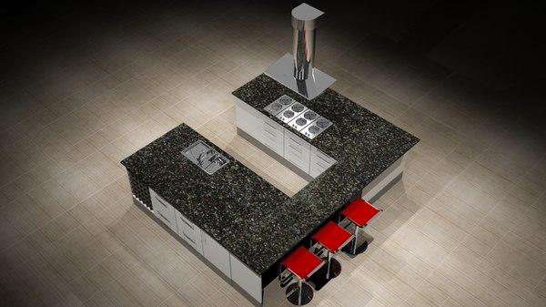 kitchen unit 3d 3ds