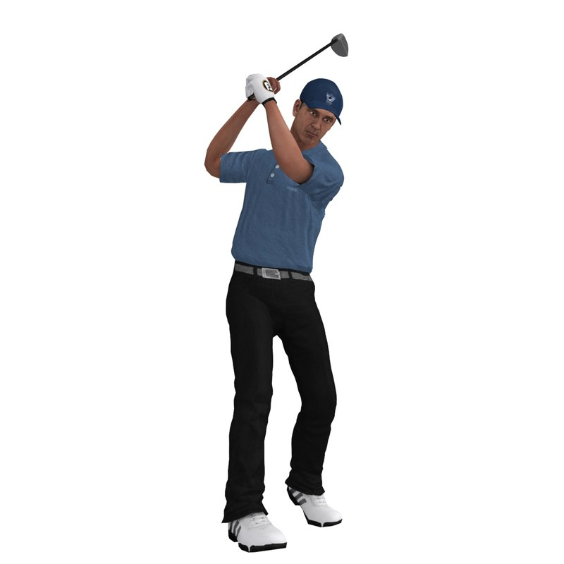 rigged golfer 3 3d model