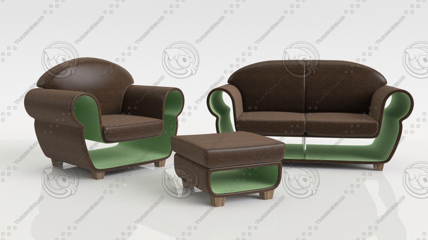 free concept furniture set 3d model