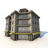 corner apartment building 3d model