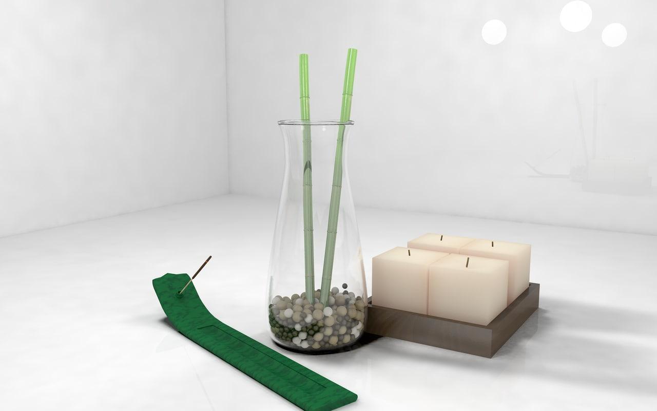 decoration bamboo rocks c4d