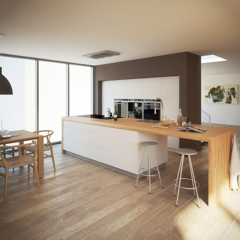 3d Realistic Modern Kitchen Interior Model