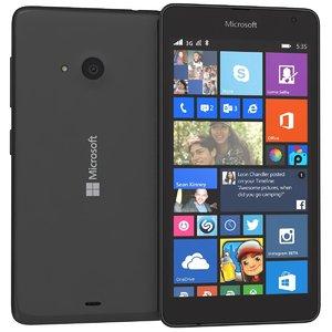 3d microsoft lumia 535 black model