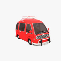 cartoon red car 3d max