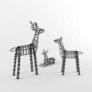 3ds max group deer figures