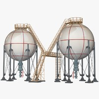 3d model of storage spherical tanks