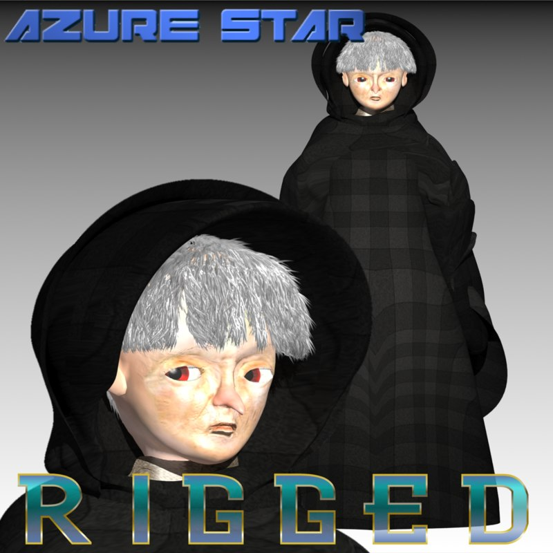 elderly woman witch 3d model