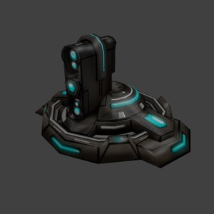 3d sci-fi turret