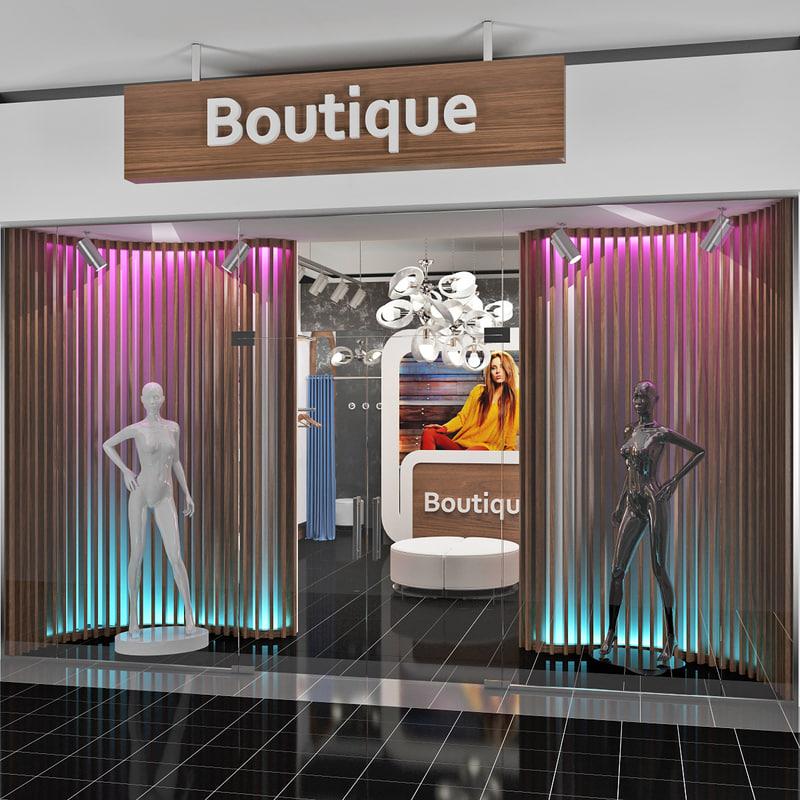 3d model scene fashion boutique