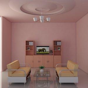 3d drawing room model