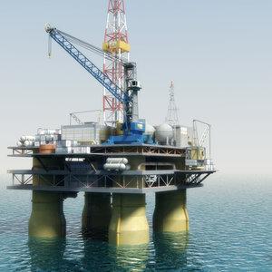 oilrig oil tanker rig 3d max