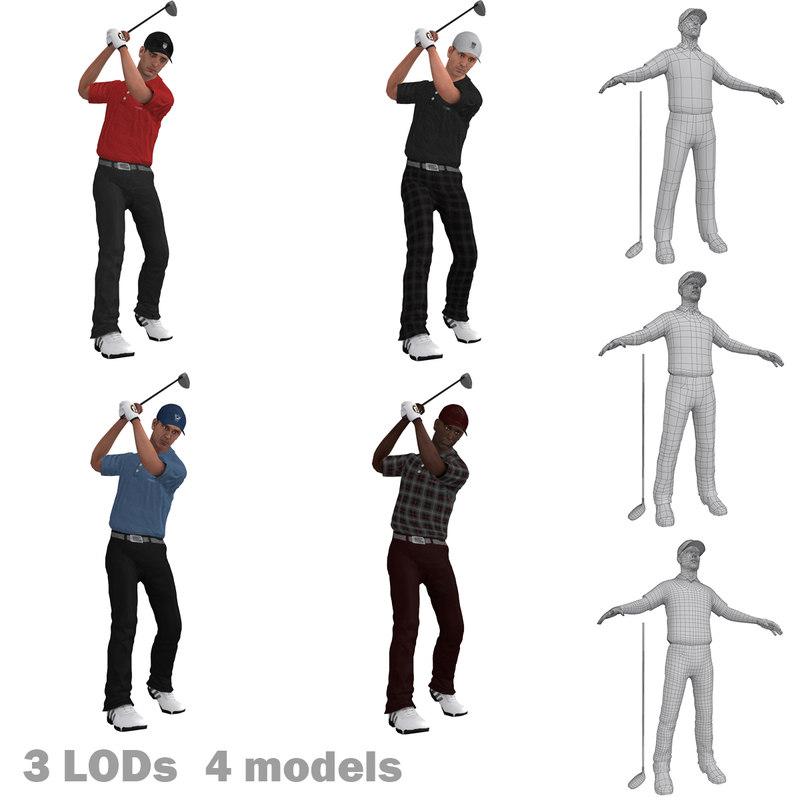3d model pack rigged golfer lods