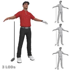 golfer lods 3d max
