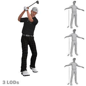 rigged golfer lods s 3d model