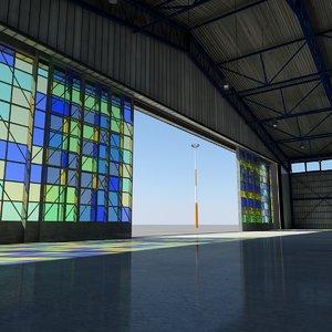 scene hangar airbus airplanes obj