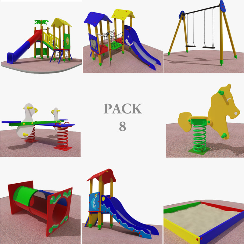 playground rocking slide 3d max