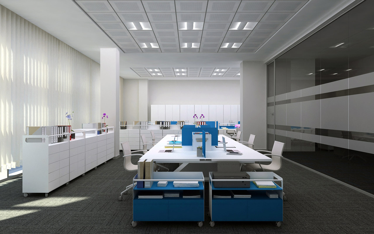 3d office interior scene model