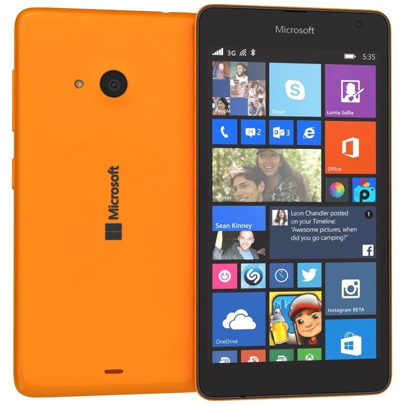 microsoft lumia 535 orange 3d 3ds