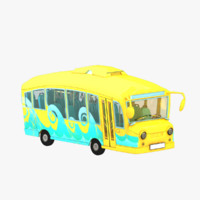 cartoon bus interior 3d model
