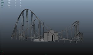 wooden roller coaster obj