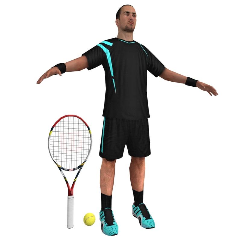 tennis player 3d max