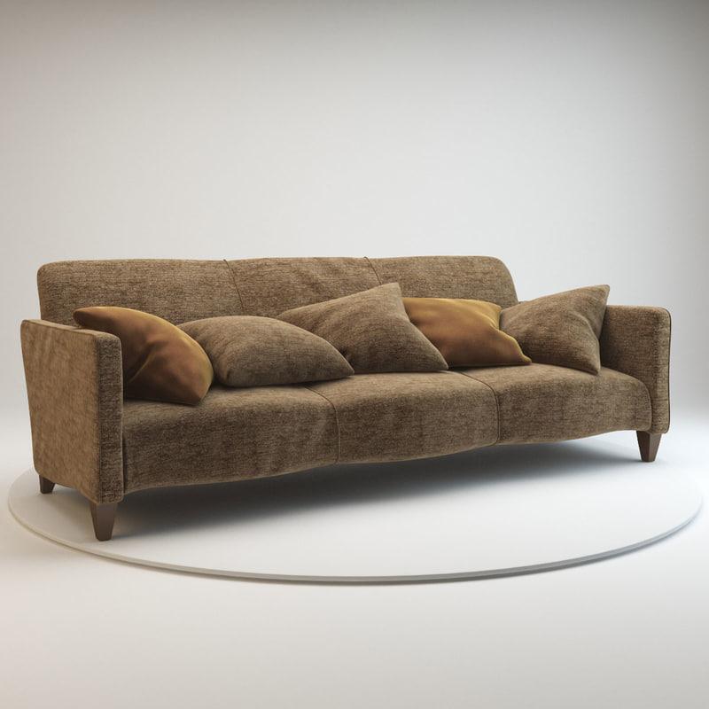 3d model serpentine sofa donghia