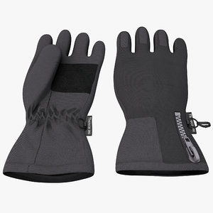 3d winter gloves model