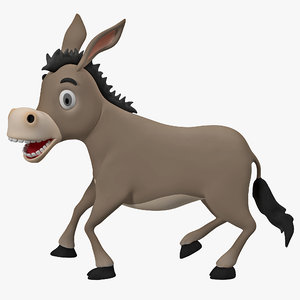 3d max cartoon donkey rigged