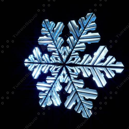 3d snow snowflake flake model