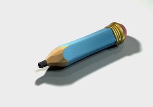 obj cartoon pencil