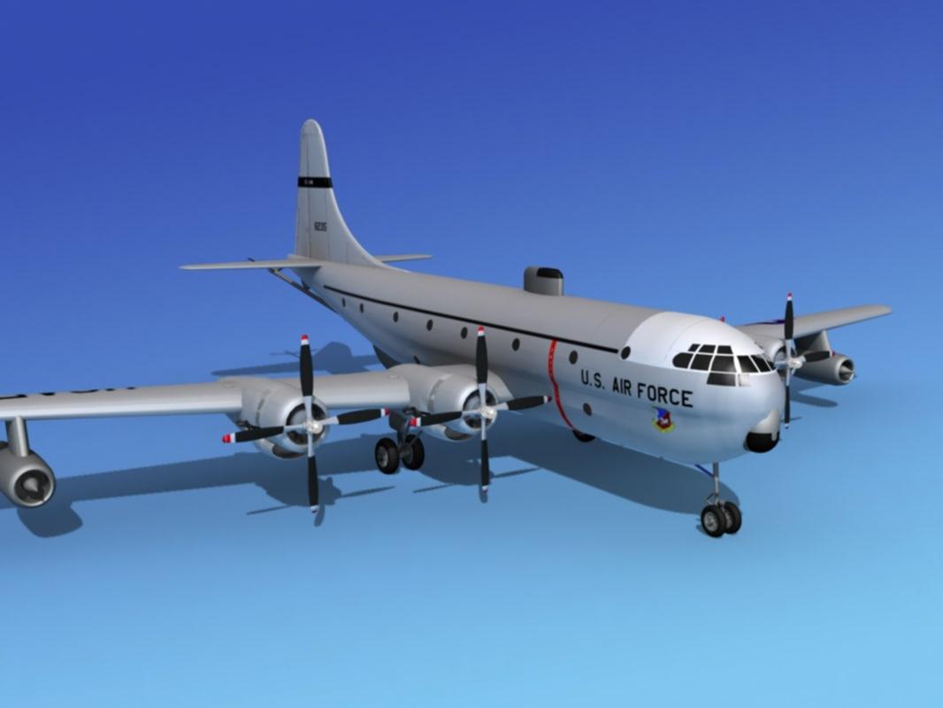 3d model propellers tanker kc-97 boeing