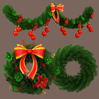 3dsmax garland decorated